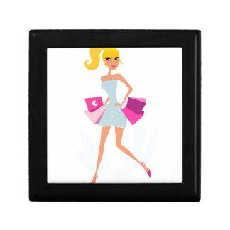 Boîte À Souvenirs Fille modèle blonde avec des points et le rose
