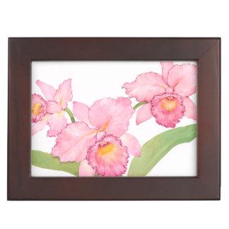 Boîte À Souvenirs Fleurs exotiques roses d'aquarelle