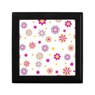 Boîte À Souvenirs Fleurs roses, jaunes et bleues abstraites colorées