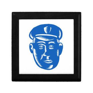 Boîte À Souvenirs Gravure sur bois en tête de policier