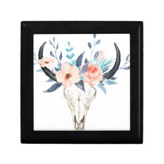 Boîte À Souvenirs Illustration florale rose de crâne de taureau