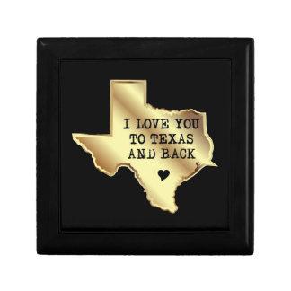 Boîte À Souvenirs Je t'aime au Texas et noir et or de dos