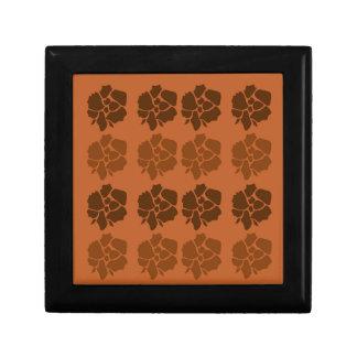 Boîte À Souvenirs La conception fleurit le brun d'ethno