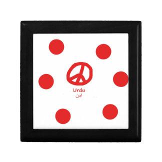 Boîte À Souvenirs Langue d'Urdu et conception de symbole de paix