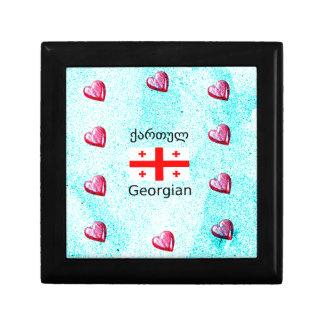 Boîte À Souvenirs Langue et conception géorgiennes de drapeau