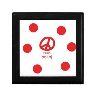 Boîte À Souvenirs Langue et conception polonaises de symbole de paix