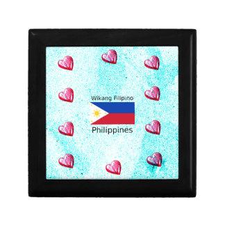 Boîte À Souvenirs Langue philippine de Wikang et drapeau de