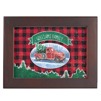 Boîte À Souvenirs Le camion vintage de Noël ajoutent le nom et la