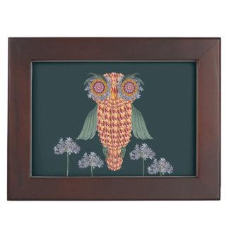Boîte À Souvenirs Le hibou de la sagesse et des fleurs