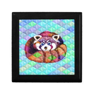 Boîte À Souvenirs Le panda rouge concernent le cubisme de turquoise