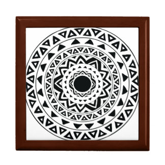 Boîte À Souvenirs Le tribal entoure le mandala en noir et blanc