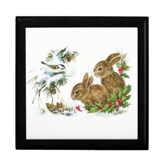 Boîte À Souvenirs Les lapins et l'oiseau apprécient la neige
