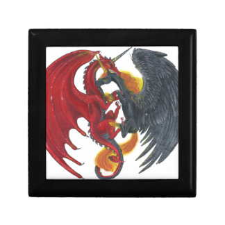 Boîte À Souvenirs Licorne noire du feu et dragon rouge