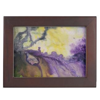 Boîte À Souvenirs Ligne de peinture violette jaune d'abrégé sur vert