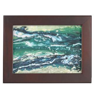 Boîte À Souvenirs Lignes de peinture blanches d'abrégé sur turquoise
