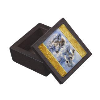 Boîte À Souvenirs Loups bleus et blancs de glace avec la texture de