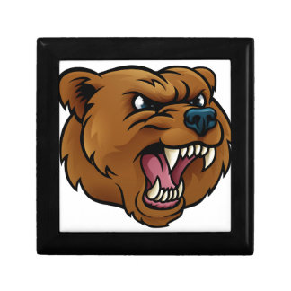 Boîte À Souvenirs L'ours gris folâtre le visage fâché de mascotte