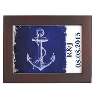 Boîte À Souvenirs M. et Mme nautiques de mariage d'ancre bleue