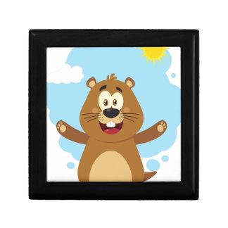 Boîte À Souvenirs Mascotte heureuse de bande dessinée de Marmot