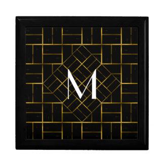 Boîte À Souvenirs Monogramme géométrique élégant de motif d'art déco