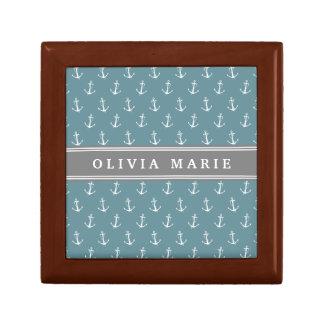 Boîte À Souvenirs Motif bleu nommé personnalisé d'ancre