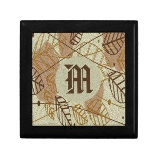 Boîte À Souvenirs Motif bronzage floral de Brown de fleur de feuille