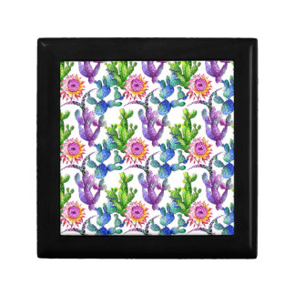Boîte À Souvenirs Motif de cactus de fleur sauvage d'aquarelle