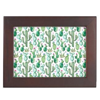 Boîte À Souvenirs Motif d'usines de cactus d'aquarelle