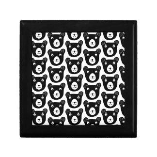 Boîte À Souvenirs Motif noir et blanc mignon d'illustration d'ours