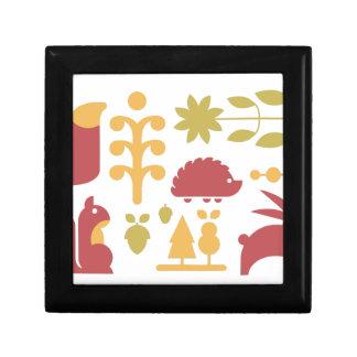 Boîte À Souvenirs Motif sans couture d'automne avec la forêt