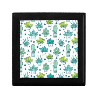 Boîte À Souvenirs Motif succulent d'aquarelle verte et bleue