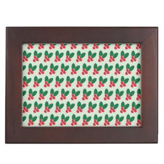Boîte À Souvenirs Motif vert de feuille de baies rouges de Noël