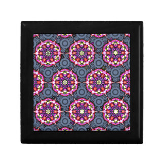 Boîte À Souvenirs Motifs floraux et cercles gris