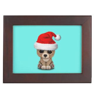 Boîte À Souvenirs Ours de bébé utilisant un casquette de Père Noël
