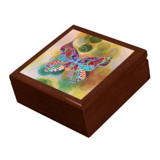 Boîte À Souvenirs Peinture colorée de papillon de boîte-cadeau