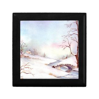 Boîte À Souvenirs Peinture de paysage d'aquarelle de pont de Milou