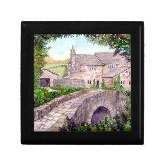 Boîte À Souvenirs Peinture en pierre d'aquarelle de pont