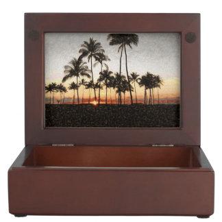 Boîte À Souvenirs Peinture hawaïenne de roche de coucher du soleil