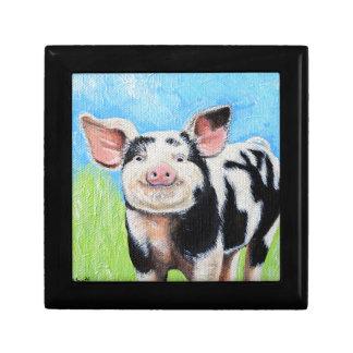 Boîte À Souvenirs Petite peinture heureuse de porc