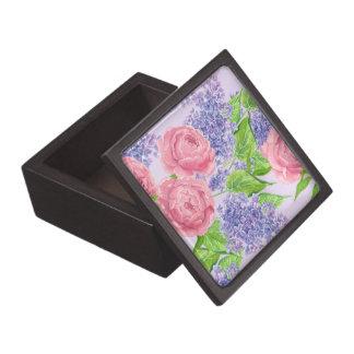 Boîte À Souvenirs Pivoines et lilas d'aquarelle