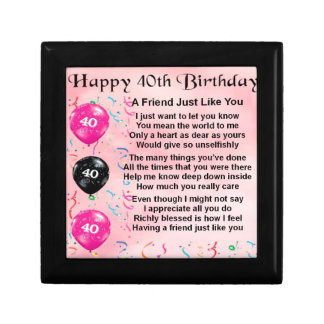 Boîte À Souvenirs Poème d'ami - quarantième anniversaire