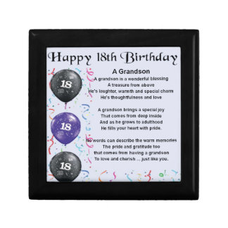 Boîte À Souvenirs Poème de petit-fils - 18ème anniversaire