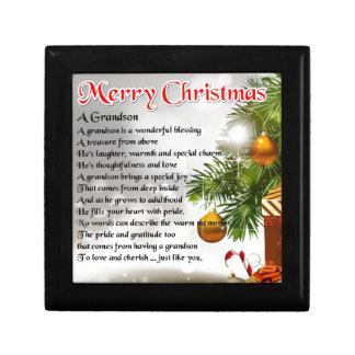 Boîte À Souvenirs Poème de petit-fils - conception de Noël