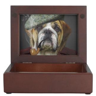 Boîte À Souvenirs Portrait de bouledogue fumant un tuyau