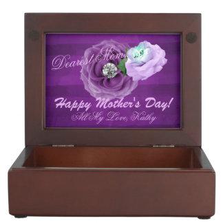 Boîte À Souvenirs Pourpre et roses de diamant de lavande