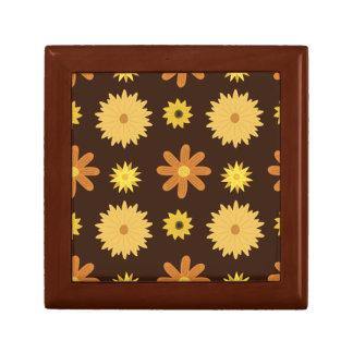 Boîte À Souvenirs Rétro motif floral de jaune orange de Brown des