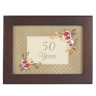 Boîte À Souvenirs Roses d'or de bronze d'anniversaire sur le motif