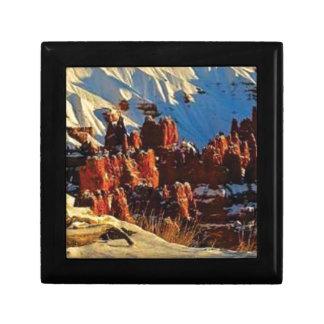 Boîte À Souvenirs scènes de la roche rouge neigeuse