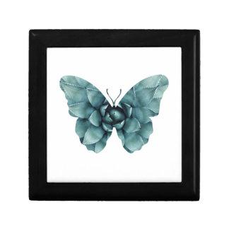 Boîte À Souvenirs Silhouette succulente vert-bleu de papillon