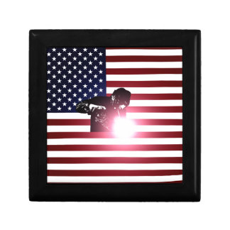 Boîte À Souvenirs Soudeuse et drapeau américain